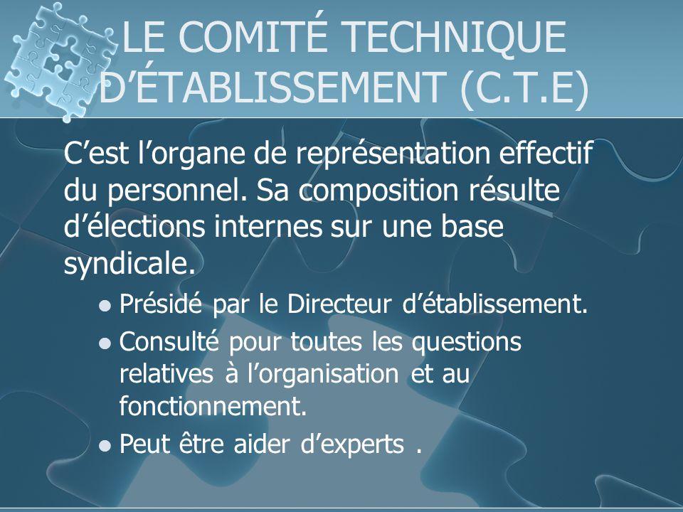 LE COMITÉ TECHNIQUE D'ÉTABLISSEMENT (C.T.E)