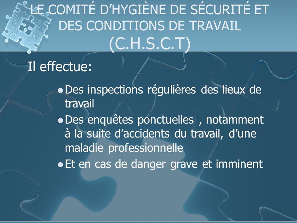 LE COMITÉ D'HYGIÈNE DE SÉCURITÉ ET DES CONDITIONS DE TRAVAIL (C. H. S