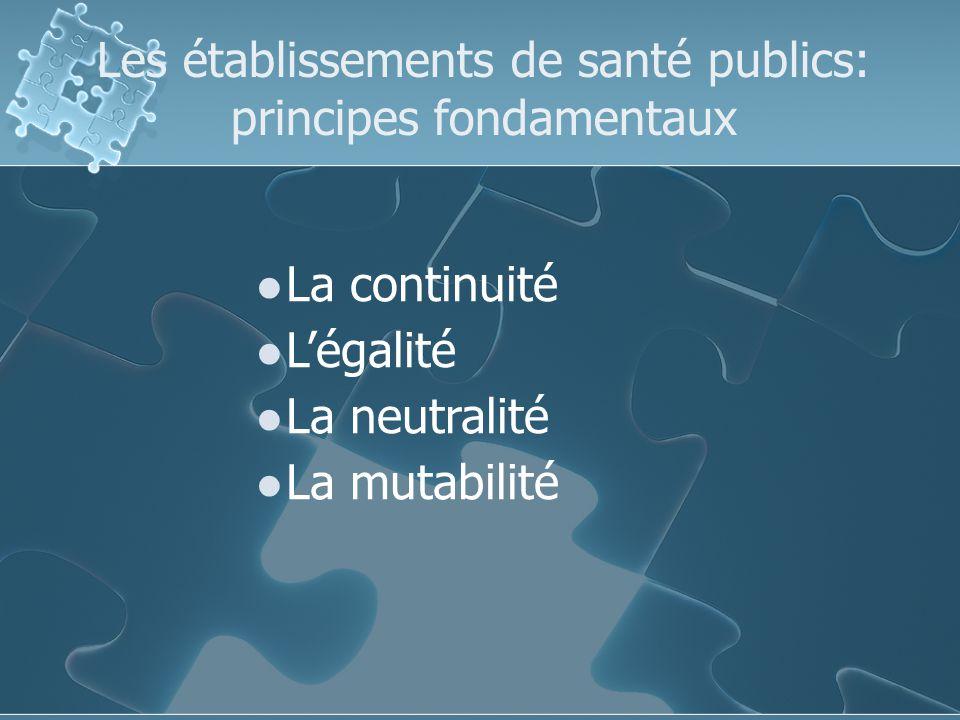 Les établissements de santé publics: principes fondamentaux