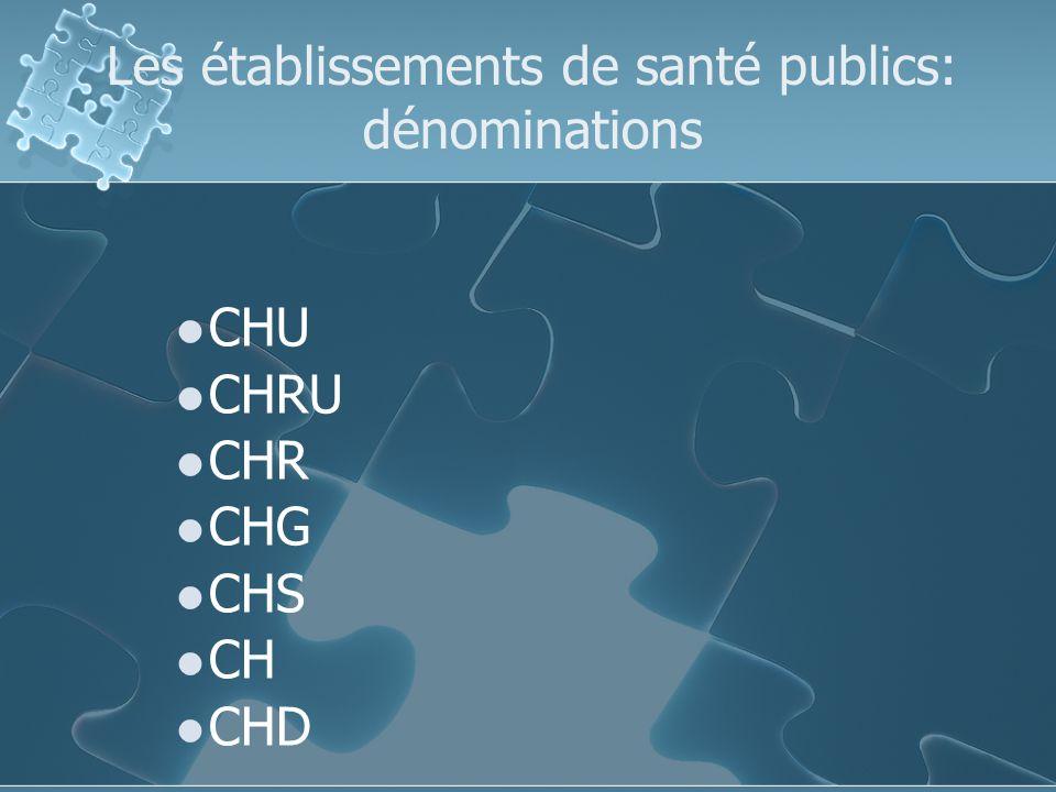 Les établissements de santé publics: dénominations