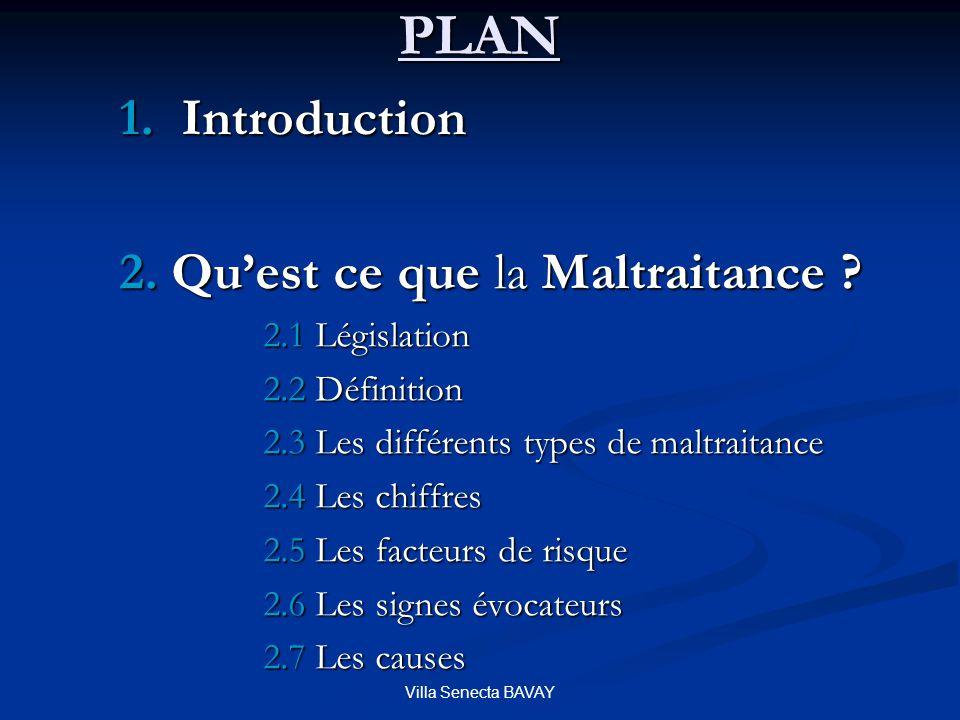 PLAN 1. Introduction 2. Qu'est ce que la Maltraitance