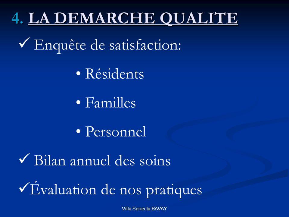 4. LA DEMARCHE QUALITE Enquête de satisfaction: Résidents Familles