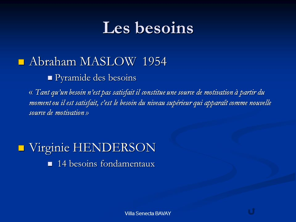Les besoins Abraham MASLOW 1954 Virginie HENDERSON