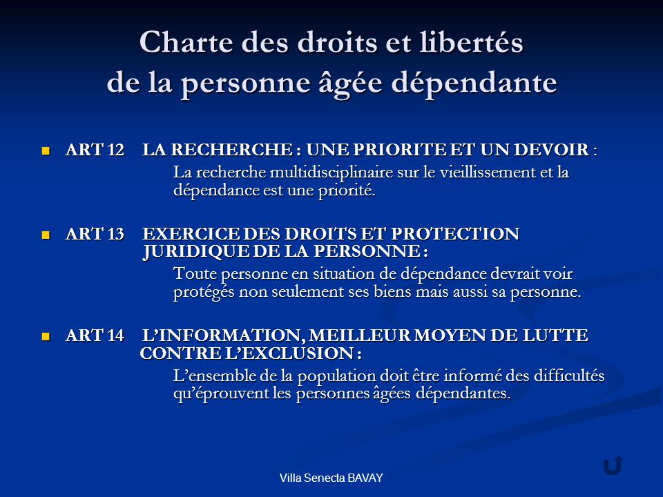 Charte des droits et libertés de la personne âgée dépendante