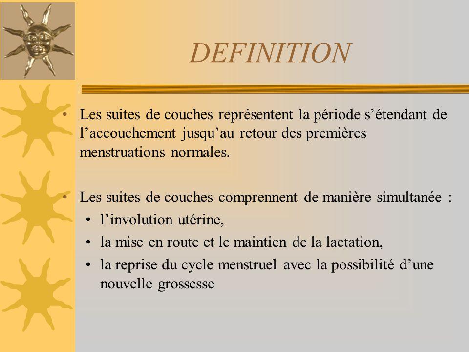DEFINITION Les suites de couches représentent la période s'étendant de l'accouchement jusqu'au retour des premières menstruations normales.