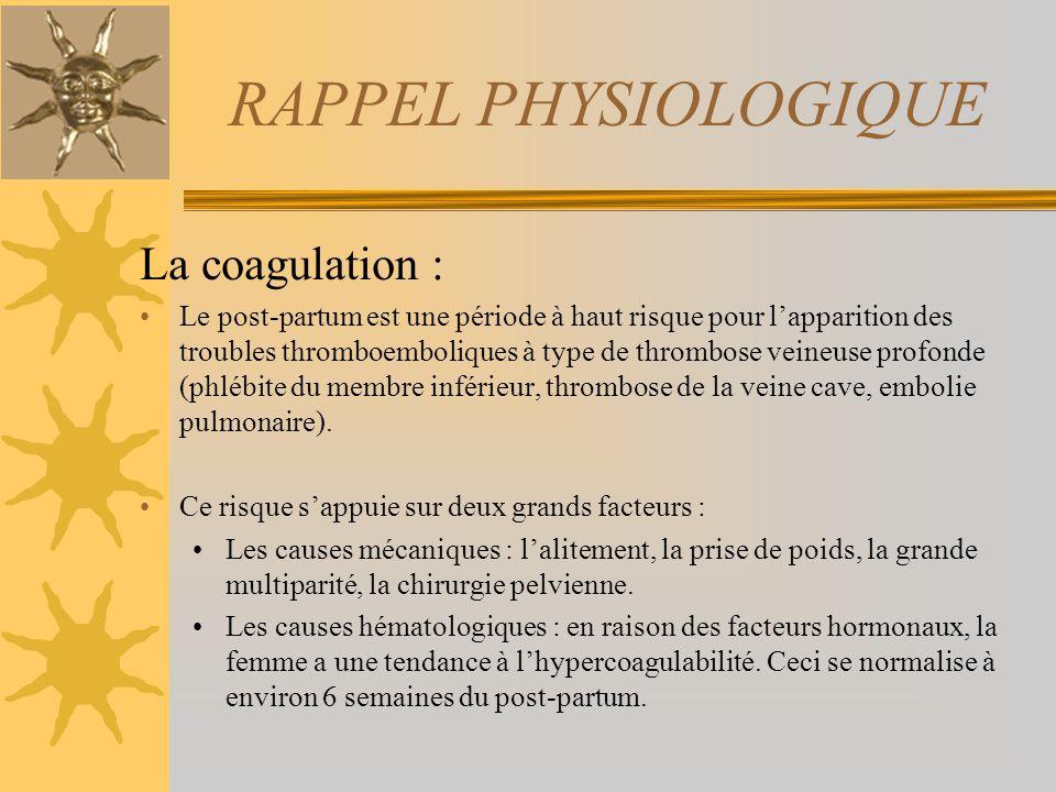 RAPPEL PHYSIOLOGIQUE La coagulation :