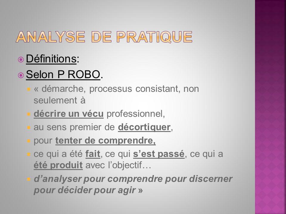 Analyse de pratique Définitions: Selon P ROBO.