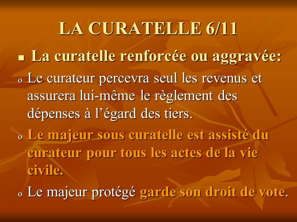 LA CURATELLE 6/11 La curatelle renforcée ou aggravée:
