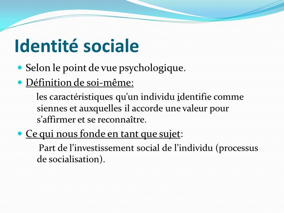 Identité sociale Selon le point de vue psychologique.