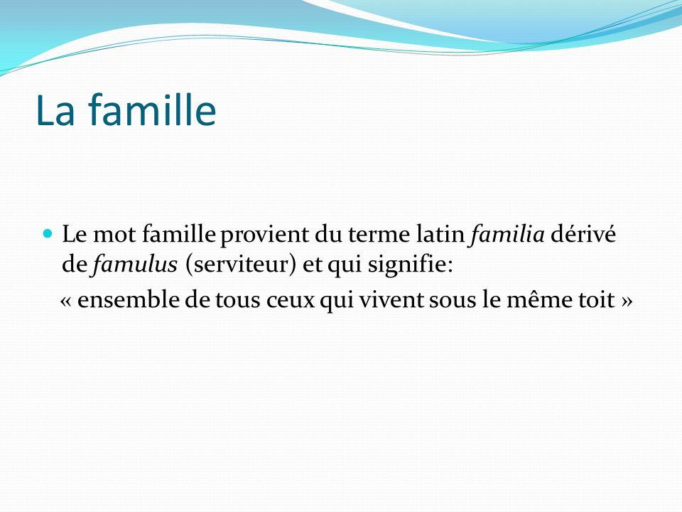 La famille Le mot famille provient du terme latin familia dérivé de famulus (serviteur) et qui signifie: