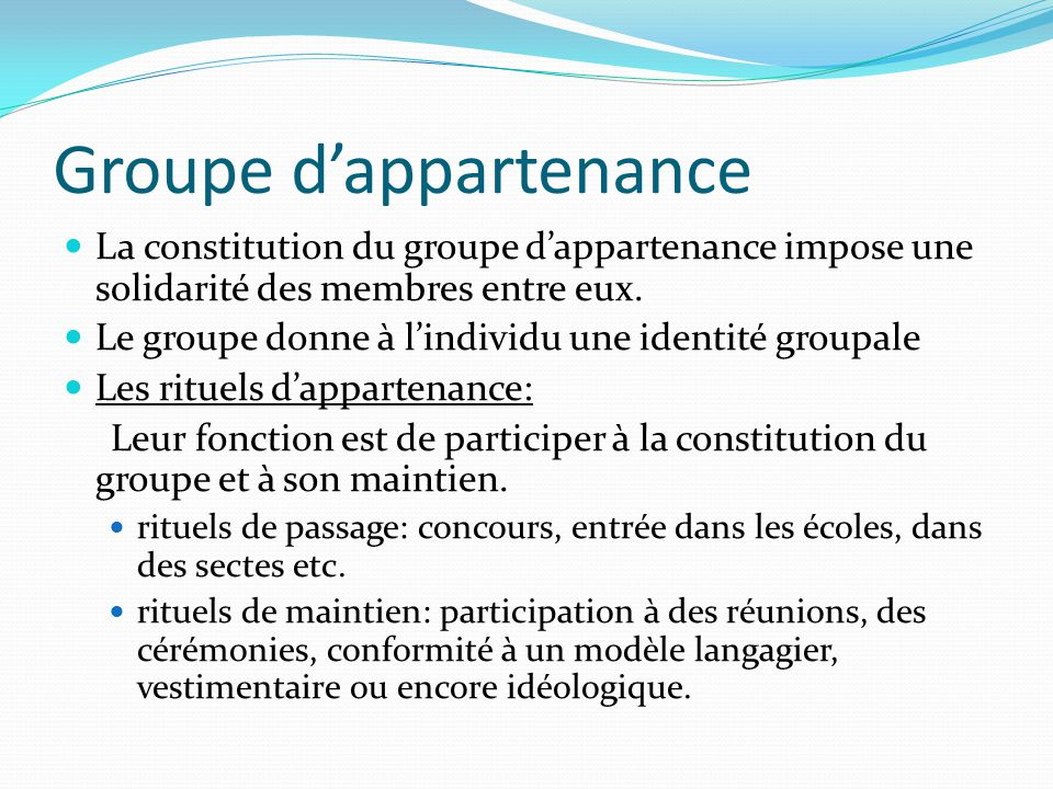 Groupe d'appartenance
