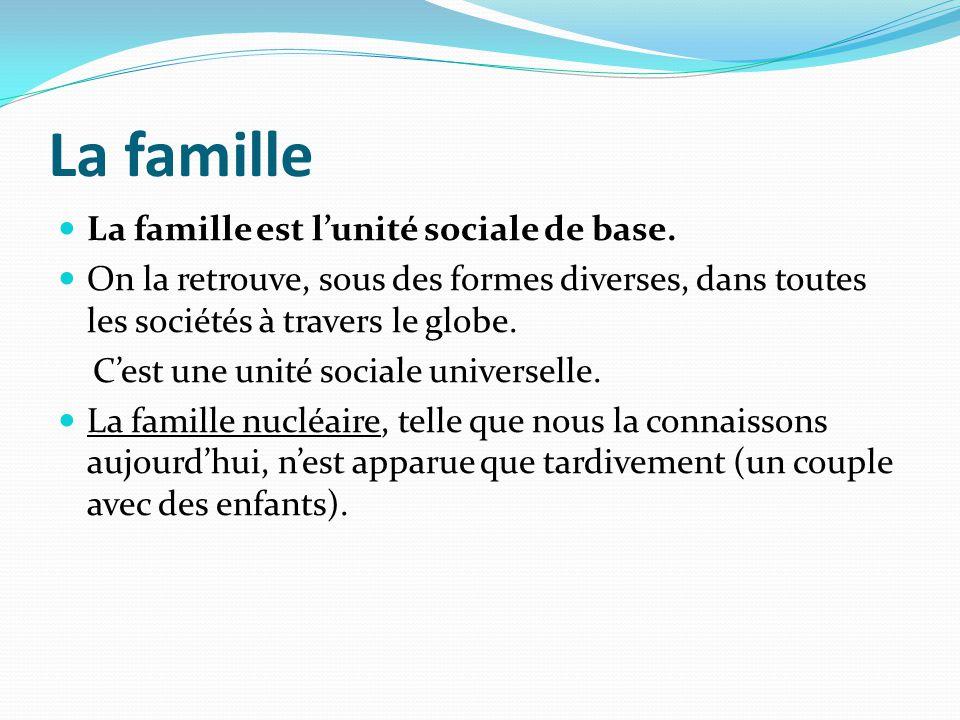 La famille La famille est l'unité sociale de base.