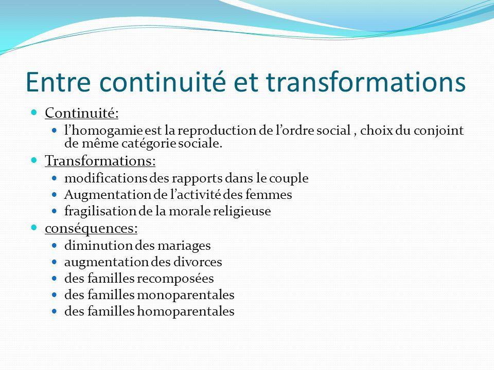 Entre continuité et transformations