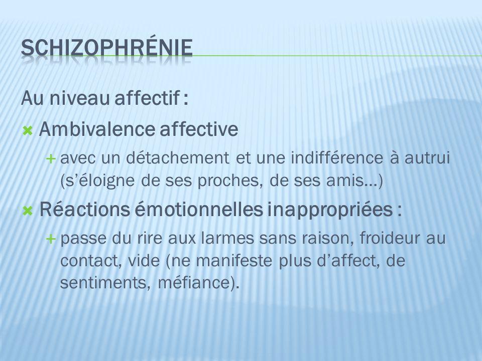 schizophrénie Au niveau affectif : Ambivalence affective