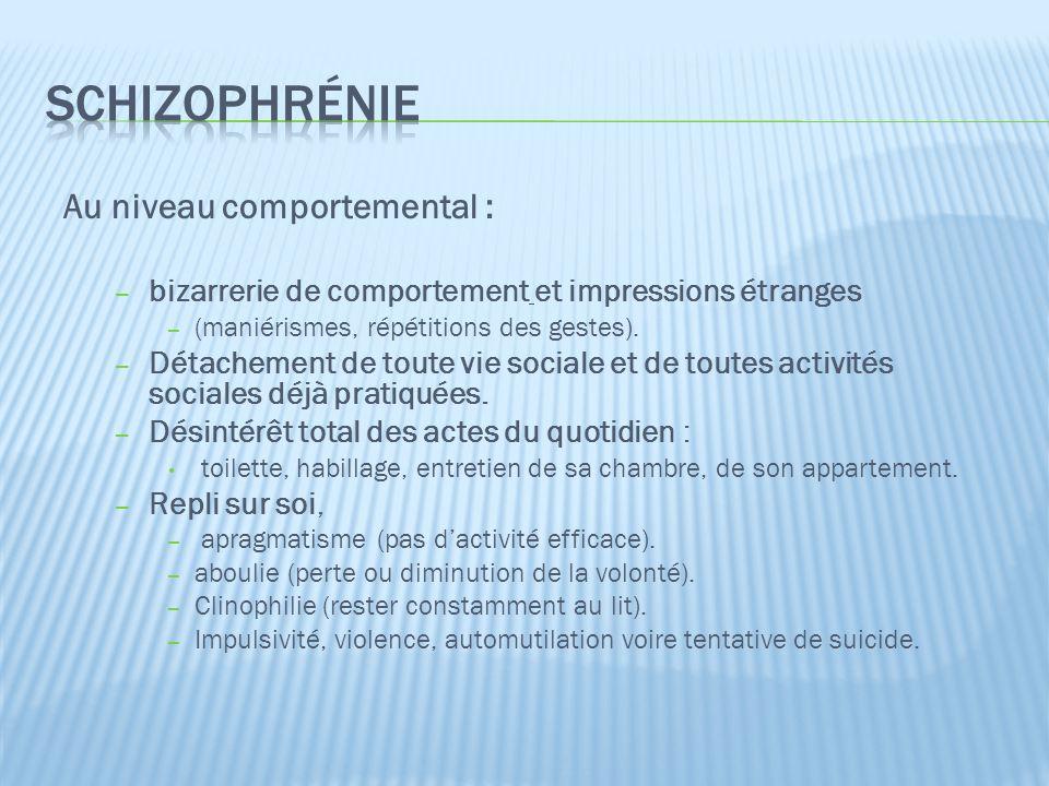schizophrénie Au niveau comportemental :
