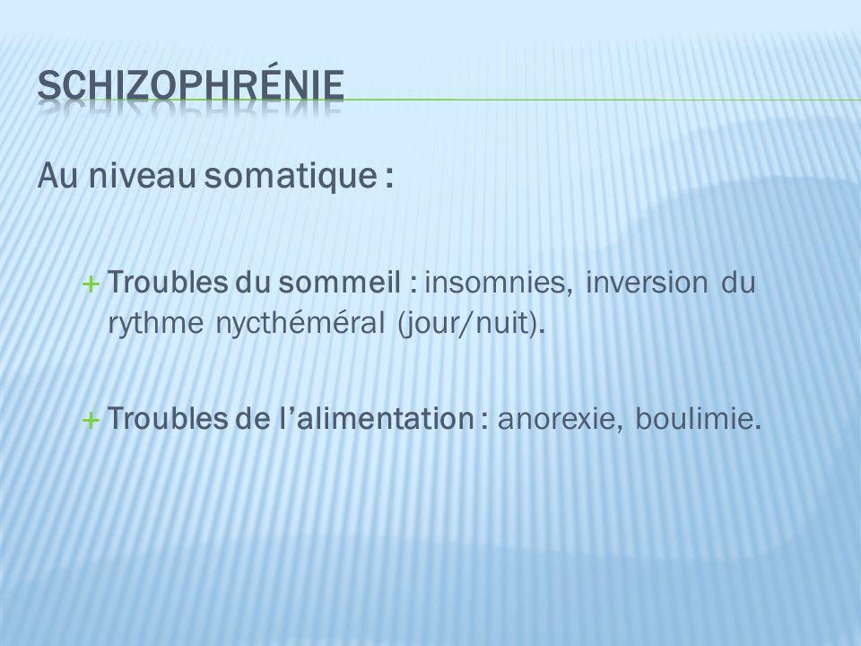 schizophrénie Au niveau somatique :