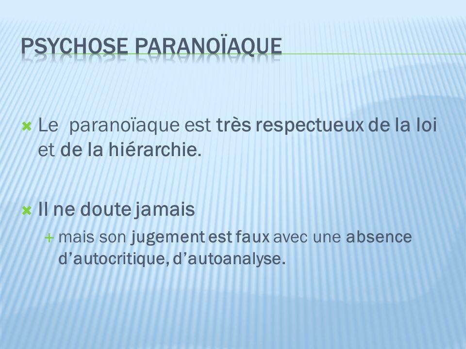 Psychose paranoïaque Le paranoïaque est très respectueux de la loi et de la hiérarchie. Il ne doute jamais.