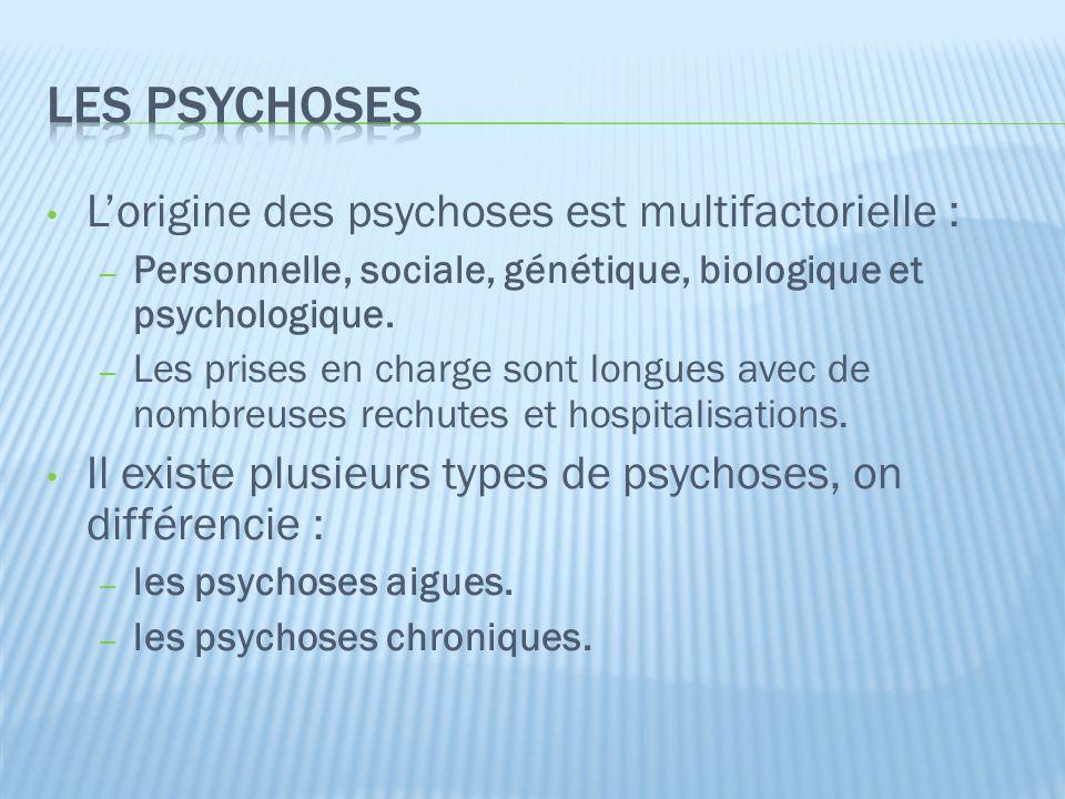 Les psychoses L'origine des psychoses est multifactorielle :