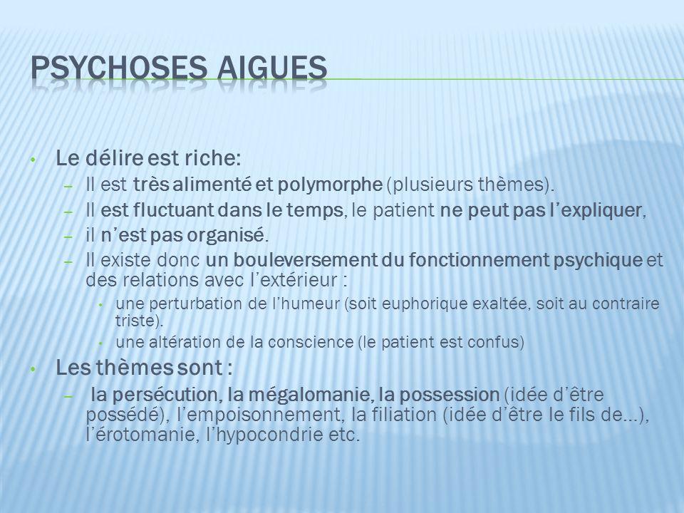 Psychoses aigues Le délire est riche: Les thèmes sont :
