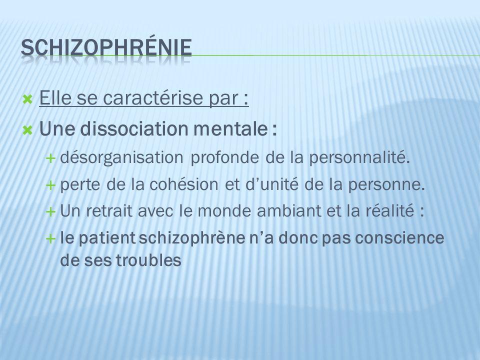 schizophrénie Elle se caractérise par : Une dissociation mentale :