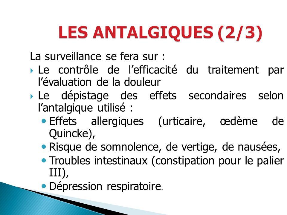 LES ANTALGIQUES (2/3) La surveillance se fera sur :