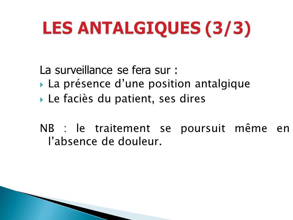 LES ANTALGIQUES (3/3) La surveillance se fera sur :