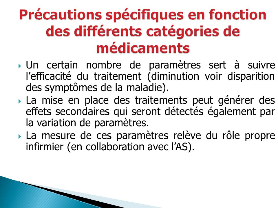 Précautions spécifiques en fonction des différents catégories de médicaments