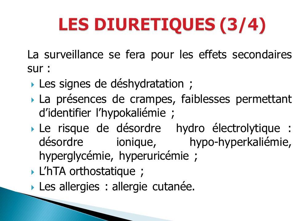 LES DIURETIQUES (3/4) La surveillance se fera pour les effets secondaires sur : Les signes de déshydratation ;