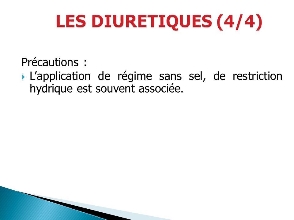 LES DIURETIQUES (4/4) Précautions :