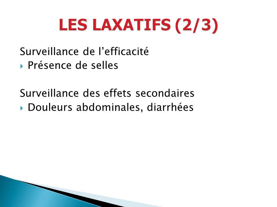 LES LAXATIFS (2/3) Surveillance de l'efficacité Présence de selles