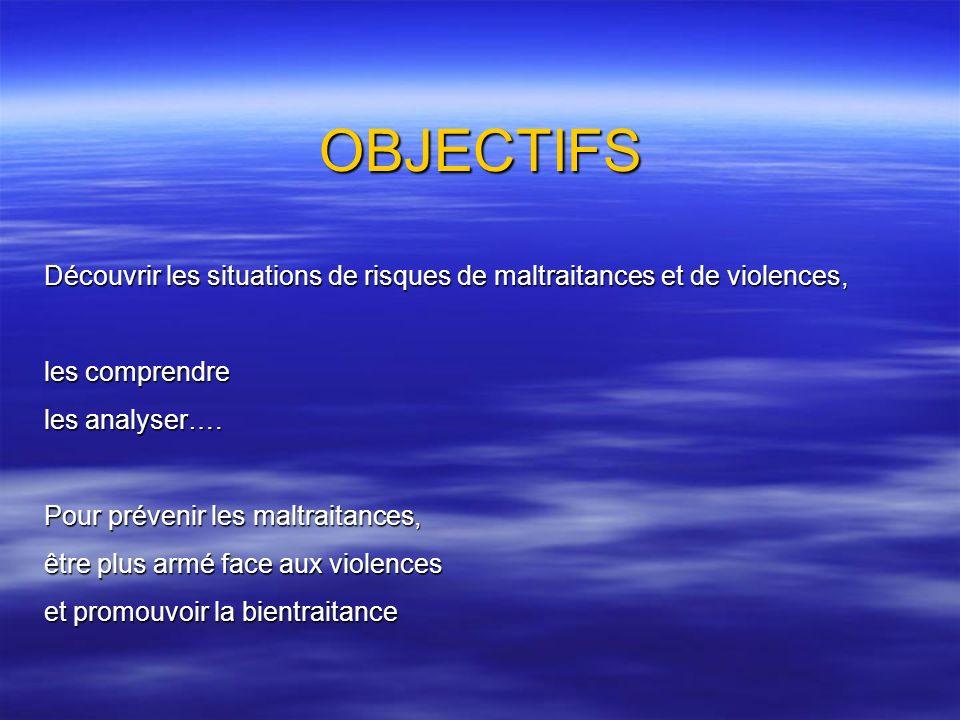 OBJECTIFS Découvrir les situations de risques de maltraitances et de violences, les comprendre. les analyser….