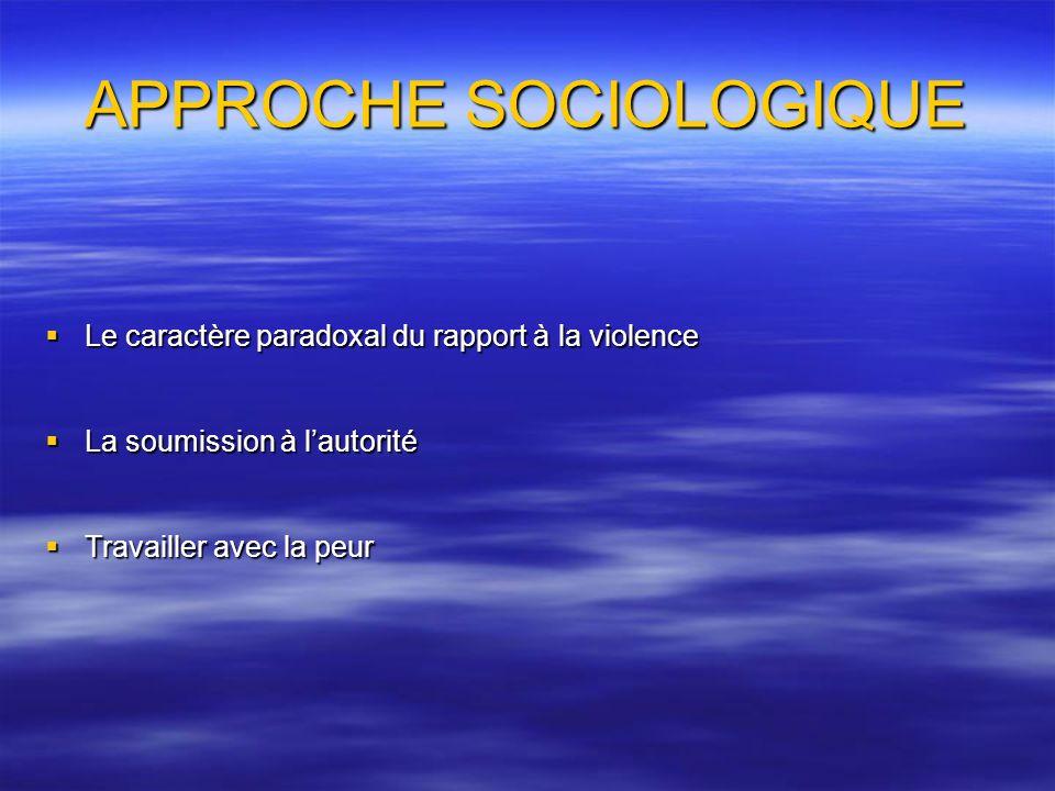 APPROCHE SOCIOLOGIQUE