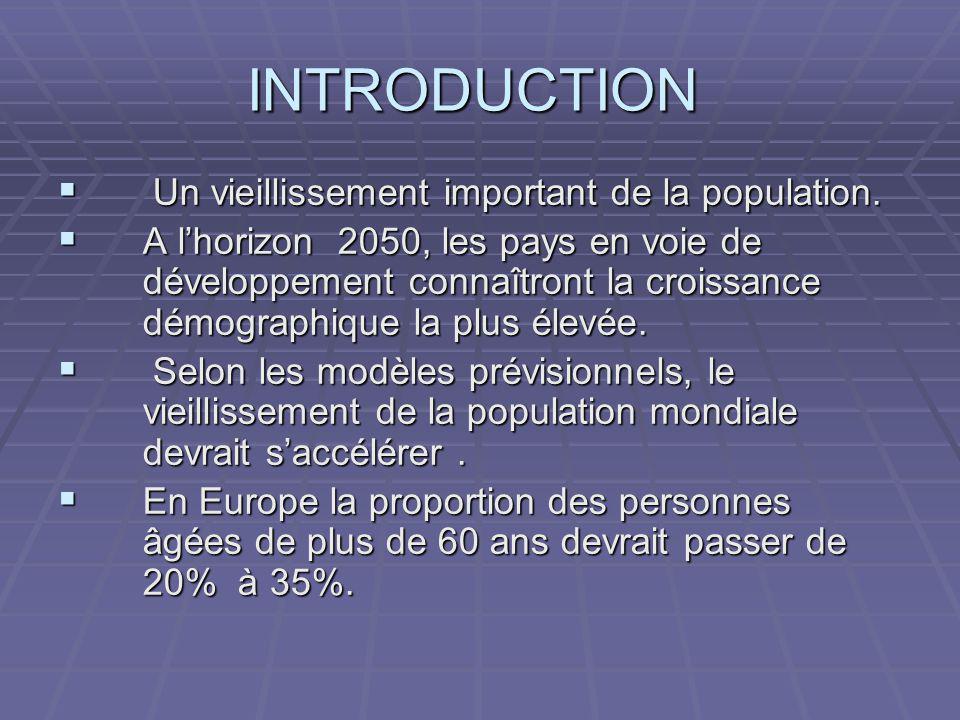 INTRODUCTION Un vieillissement important de la population.