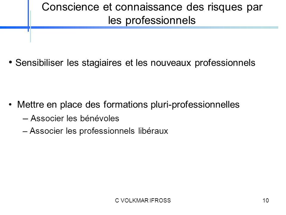 Conscience et connaissance des risques par les professionnels