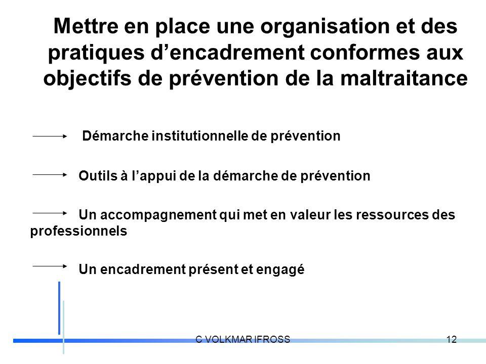 Mettre en place une organisation et des pratiques d'encadrement conformes aux objectifs de prévention de la maltraitance