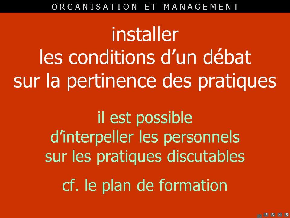 installer les conditions d'un débat sur la pertinence des pratiques