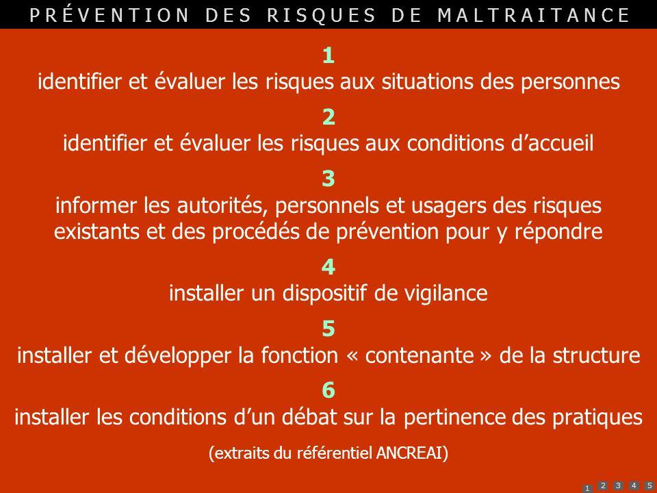 1 identifier et évaluer les risques aux situations des personnes