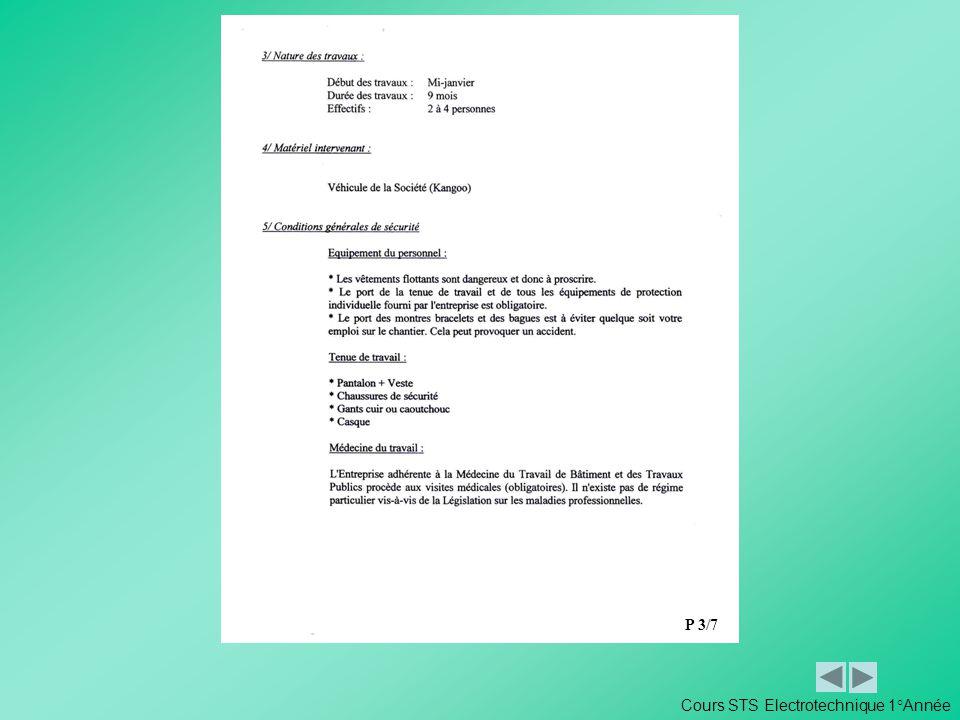 P 3/7 Cours STS Electrotechnique 1°Année