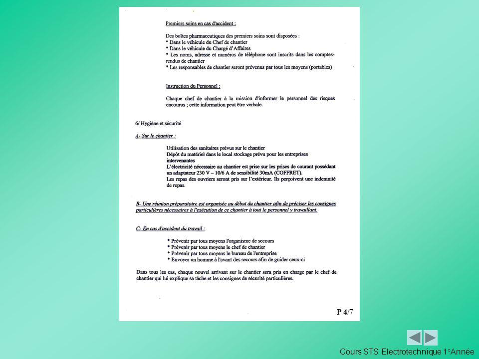 P 4/7 Cours STS Electrotechnique 1°Année