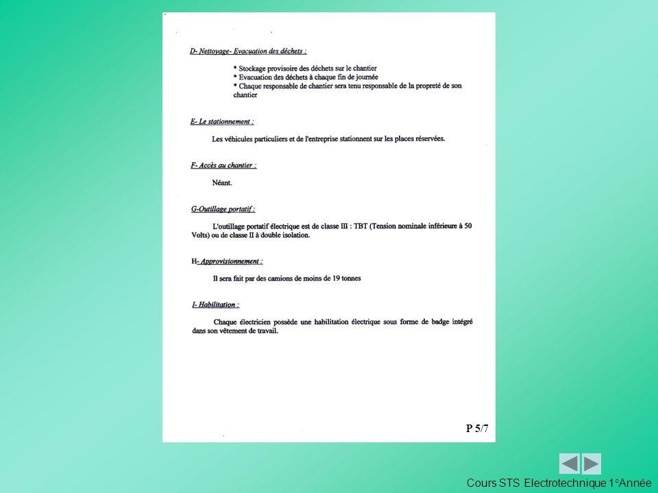 P 5/7 Cours STS Electrotechnique 1°Année