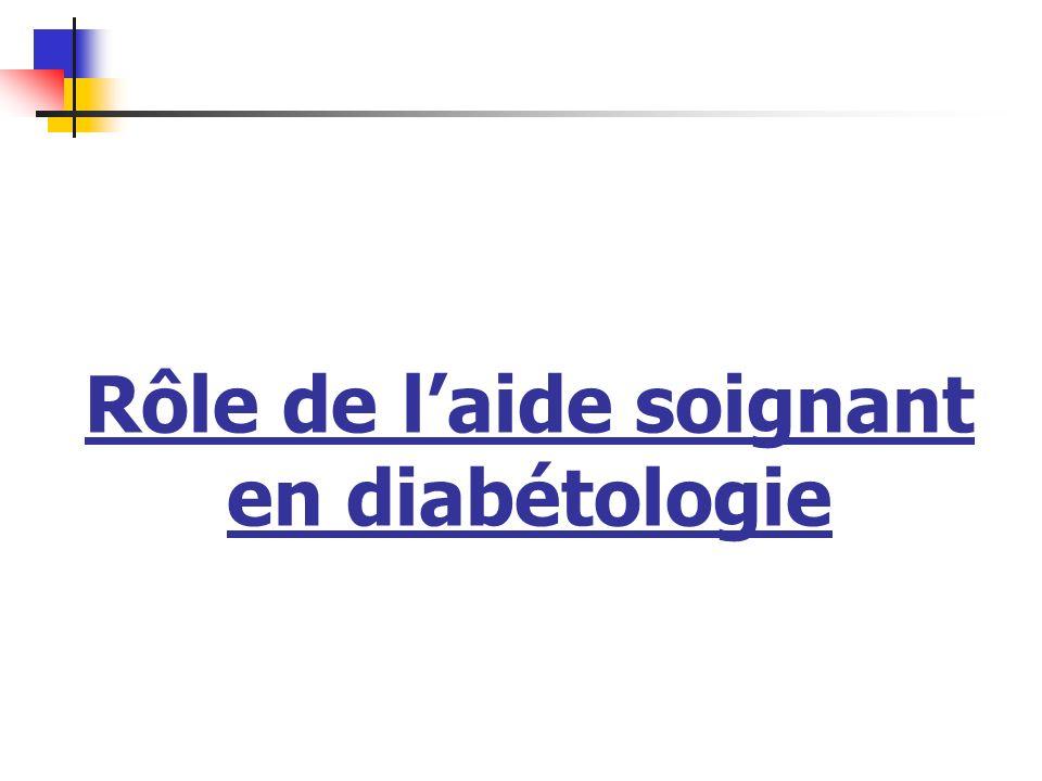 Rôle de l'aide soignant en diabétologie