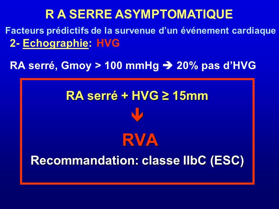 R A SERRE ASYMPTOMATIQUE Recommandation: classe IIbC (ESC)