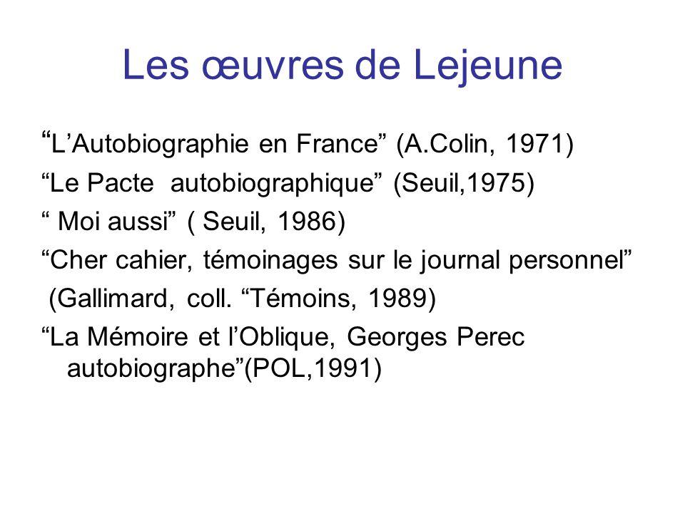 Les œuvres de Lejeune L'Autobiographie en France (A.Colin, 1971)