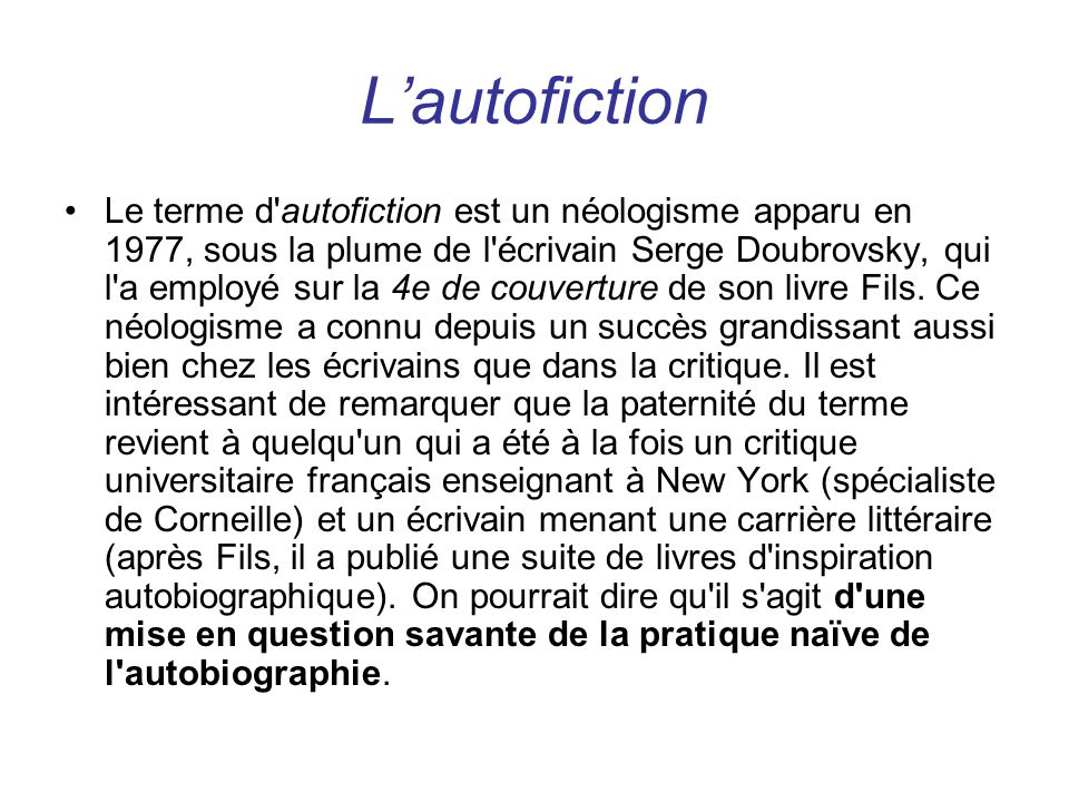 L'autofiction