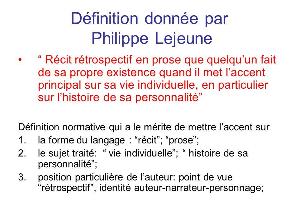 Définition donnée par Philippe Lejeune