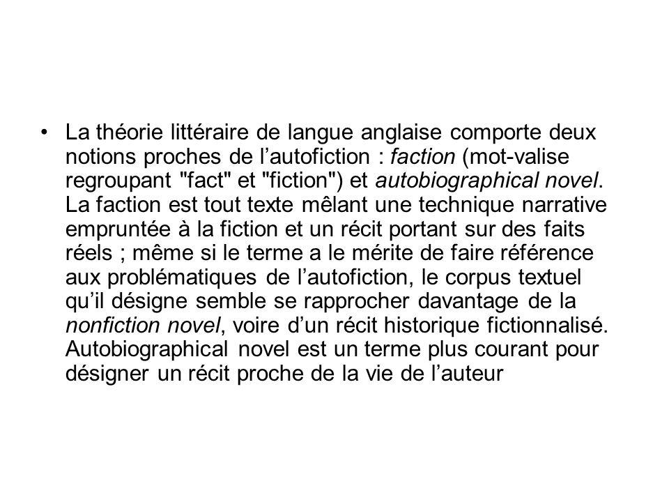 La théorie littéraire de langue anglaise comporte deux notions proches de l'autofiction : faction (mot-valise regroupant fact et fiction ) et autobiographical novel.