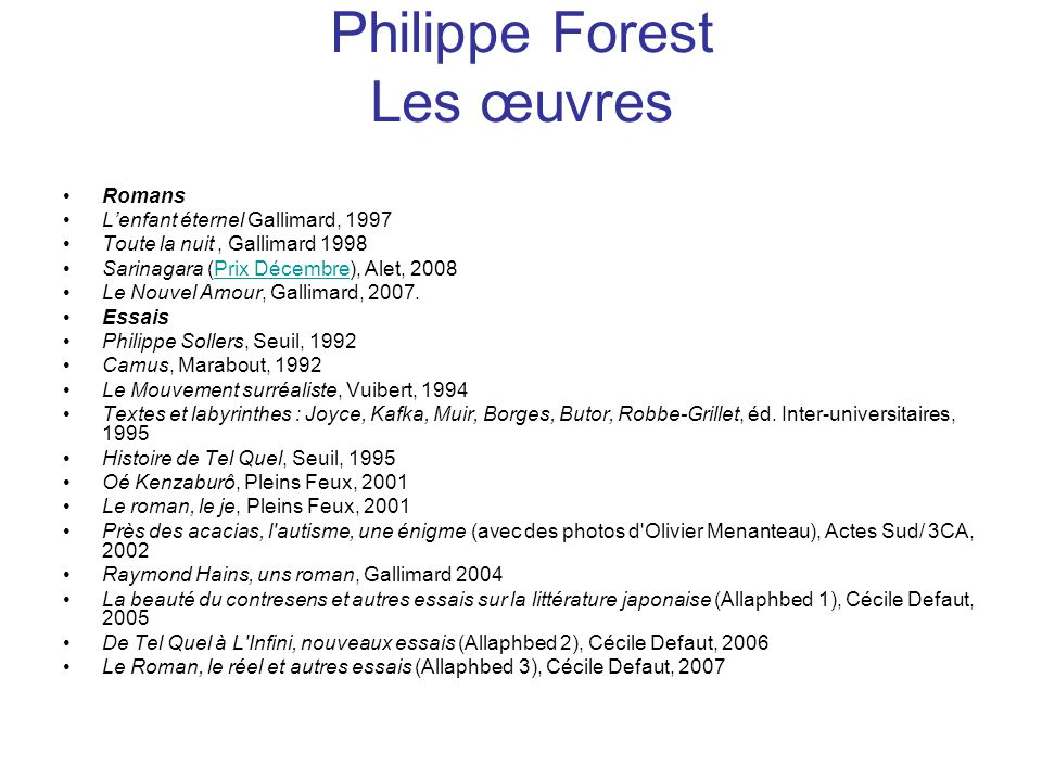 Philippe Forest Les œuvres