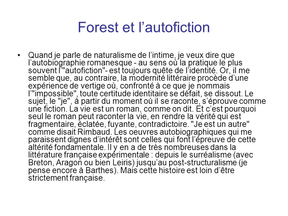 Forest et l'autofiction