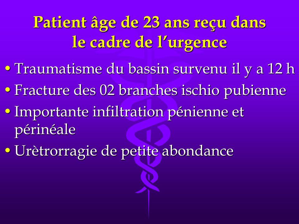 Patient âge de 23 ans reçu dans le cadre de l'urgence
