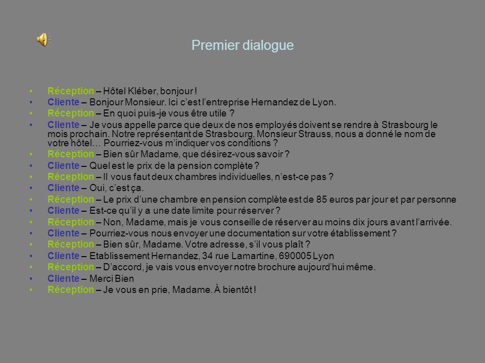 Premier dialogue Réception – Hôtel Kléber, bonjour !